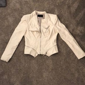 Cream colored leather jacket in great condition!